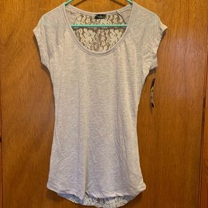 NWT Women's size L grey tee with lace back fits M